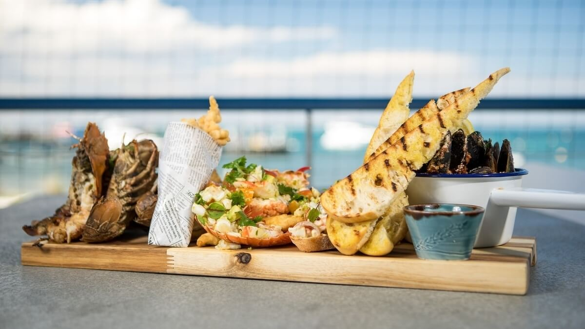 An image of a plate of seafood at a restaurant on Rottnest Island