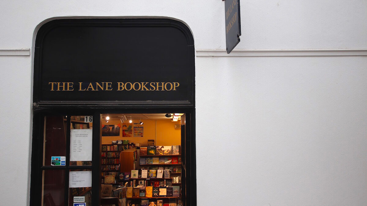 outside of the lane bookshop in Claremont