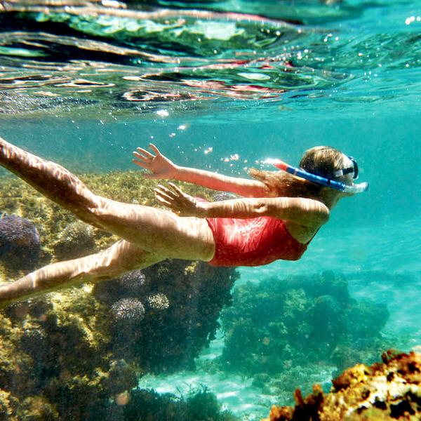 girl snorkelling at Rottnest