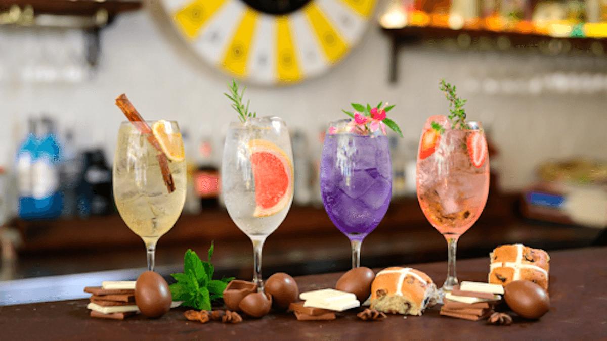 Gin and tonics on a bar