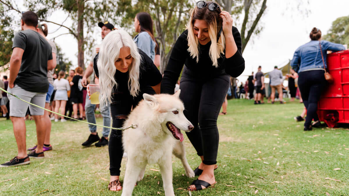 two women patting a dog at WA Cider and Pork Festival