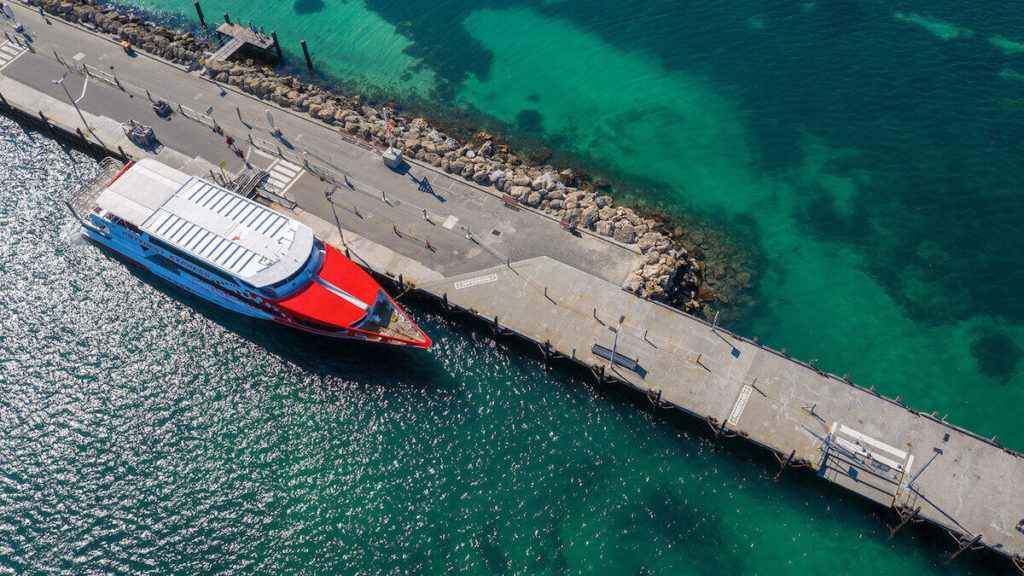 Aerial ferry shot at Rottnest