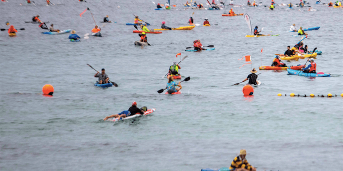 Paddlers in action at the Port to Pub