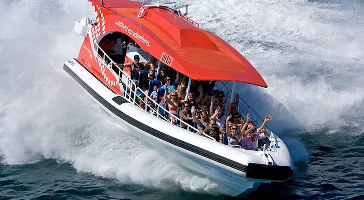 people on Rottnest speedboat