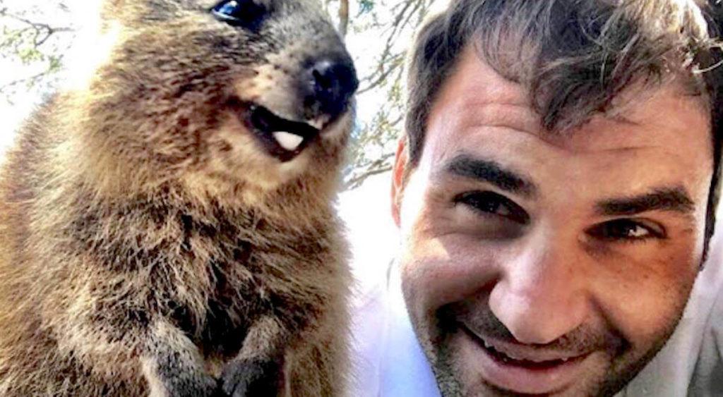roger federer doing quokka selfie