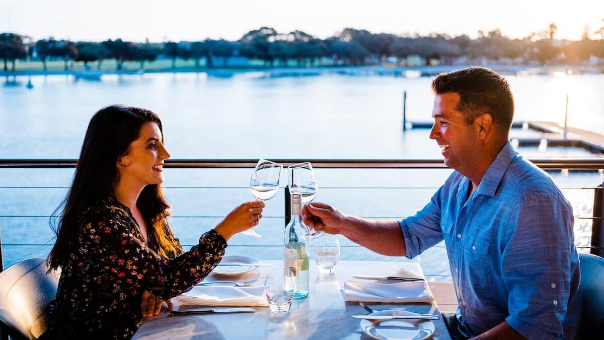 Couple dining at Redmanna restaurant in Mandurah