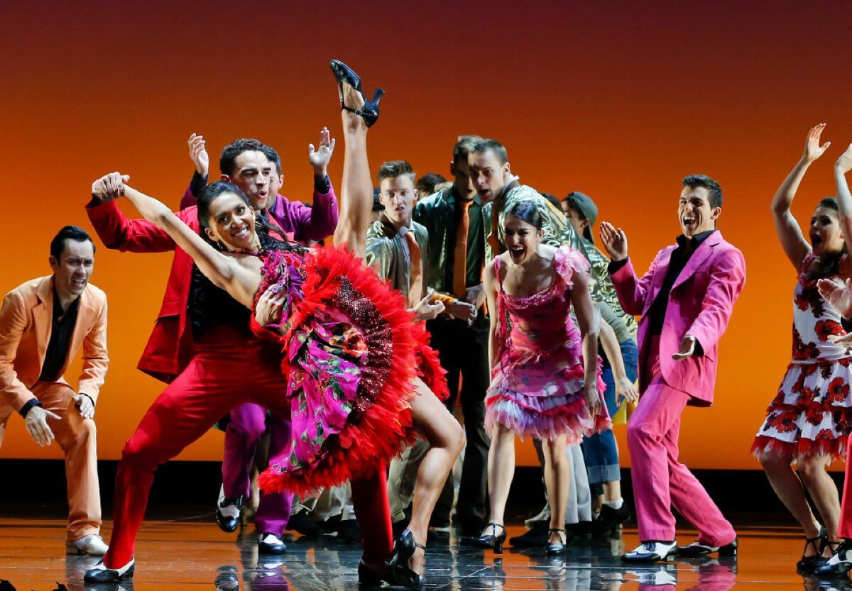 dancers on stage in West Side Story