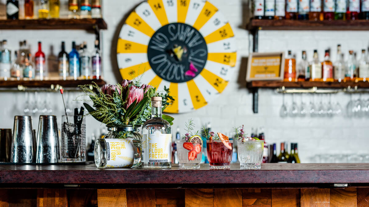 Gins at the flour factory gin bar in Perth